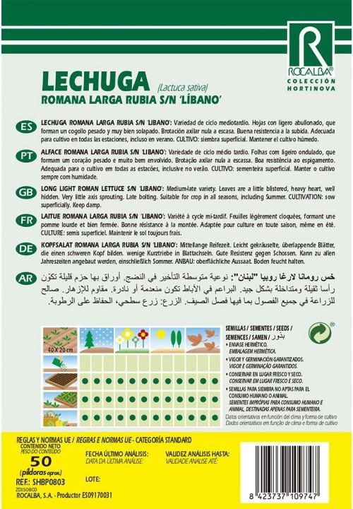 LECHUGA ROMANA LARGA RUBIA S/N LIBANO